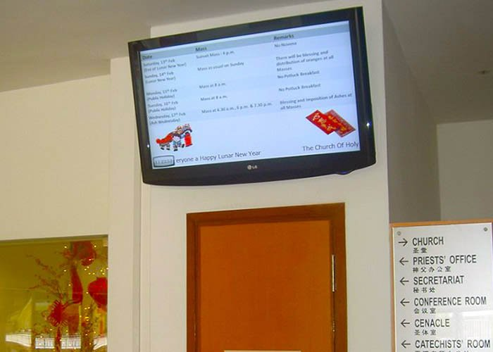 Digital signage in Places of Worship at Church of The Holy Cross, Singapore