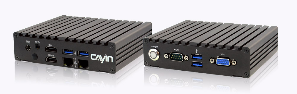 Front and rear view of digital signage player SMP-2210